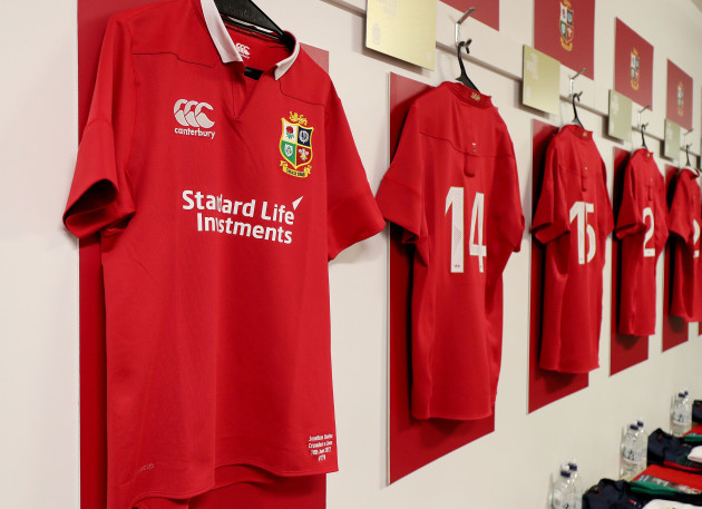 A view of a Lions jersey in the changing room