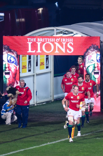 The Lions come out to start the game
