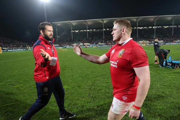 Andy Farrell with Tadgh Furlong after the game
