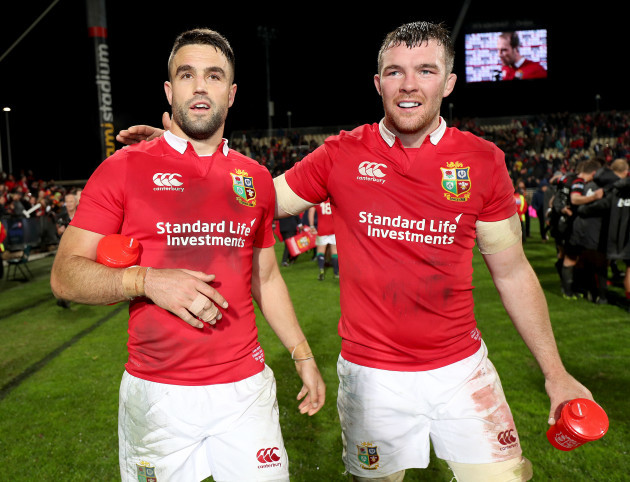 Conor Murray and Peter O'Mahony celebrate winning