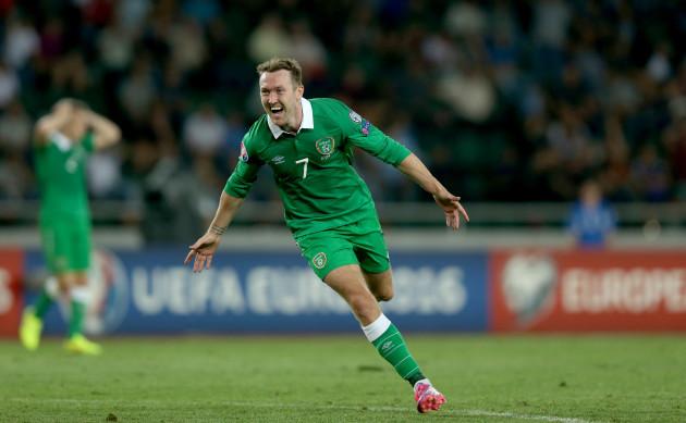 Aiden McGeady celebrates scoring his second goal of the game
