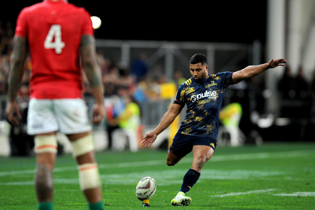 Lima Sopoaga kicks at goal