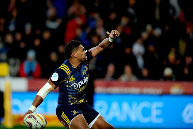 Waisake Naholo celebrates scoring their first try