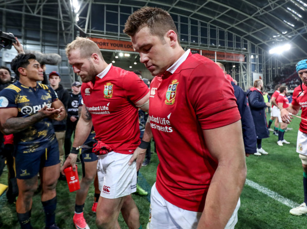 James Haskell and CJ Stander leave the field after the game