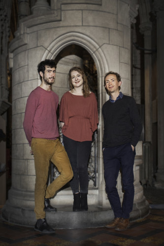 (left-right) Music artists Sebastian Adams, Yseult Cooper Stockdale and composer Tom Lane who feature in Pipeworks 2017 Organ Festival 20-25 June Pic  Monika Chmielarz
