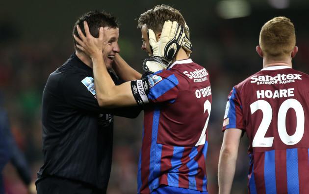 Ger O'Brien and brendan Clarke celebrate