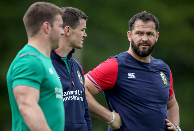 Sean O'Brien, Jonathan Sexton and defence coach Andy Farrell