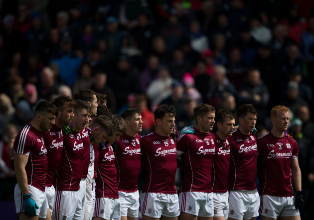 Galway players stand together for the national anthem