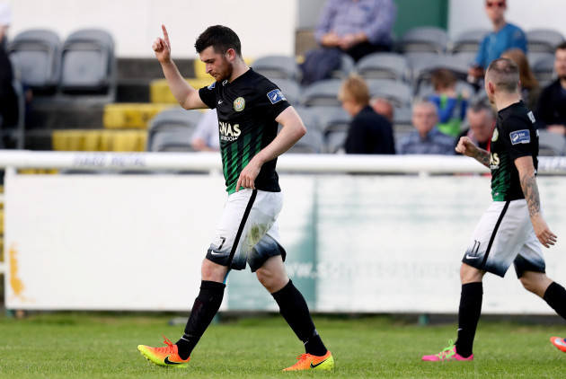 Ryan Brennan celebrates scoring his sides second goal