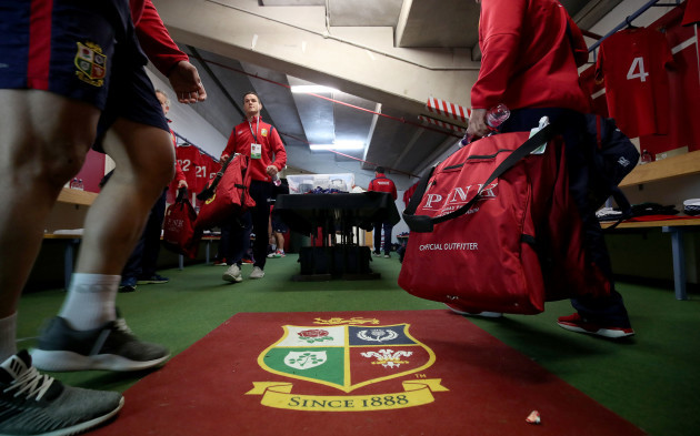 A view of Lions players arriving into the changing room