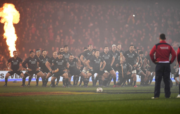 The Maori All Blacks perform the Haka