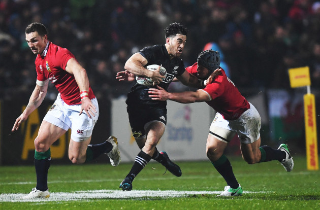 Nehe Milner-Skudder with George North and Jonathan Davies