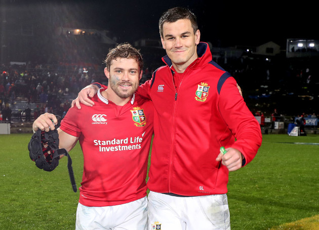 Leigh Halfpenny and Jonathan Sexton celebrate winning