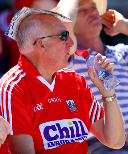 A Cork fan uses his programme to shade the sun