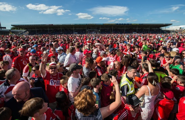 A view of the pitch invasion at full time