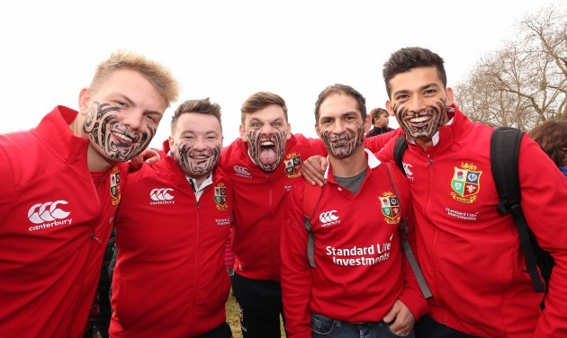British and Irish Lions fans during the Haka