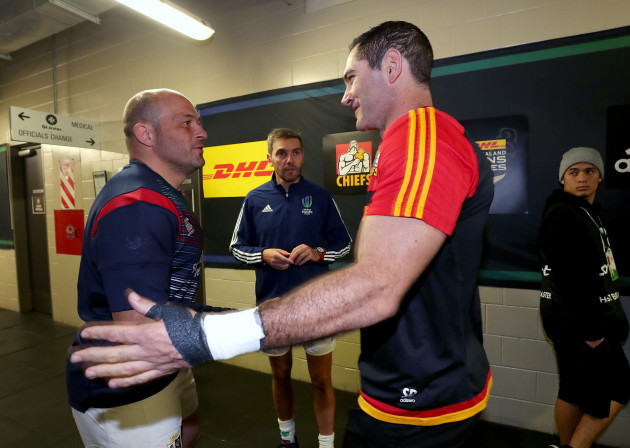 Rory Best with Stephen Donald and Jerome Garces at the coin toss