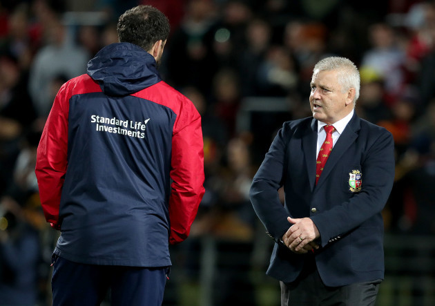 Warren Gatland with Andy Farrell before the game