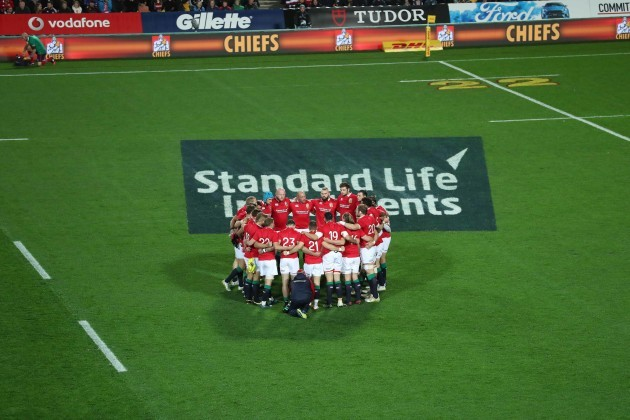 The Lions team huddle before the game