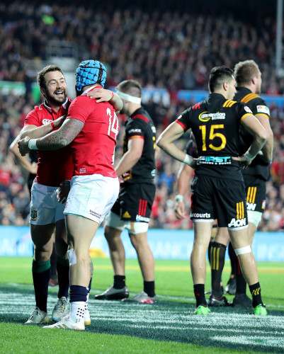 Jack Nowell celebrates scoring their first try with Greig Laidlaw