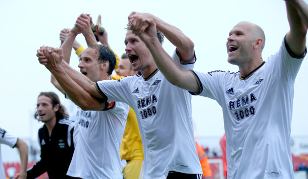 Tore Reginiussen, Morten Gamst Pedersen and Mikael Dorsin celebrates at the final whistle