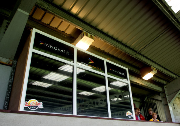 A view of the specially built box to accommodate suspended Wexford manager Davy Fitzgerald