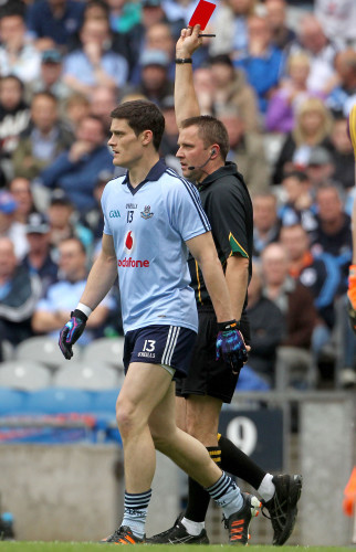 Diarmuid Connolly is shown a straight red card by Rory Hickey