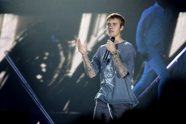 Justin Bieber performs during the Purpose World Tour - Poland