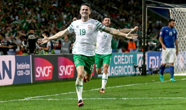 Robbie Brady celebrates scoring his sides first goal