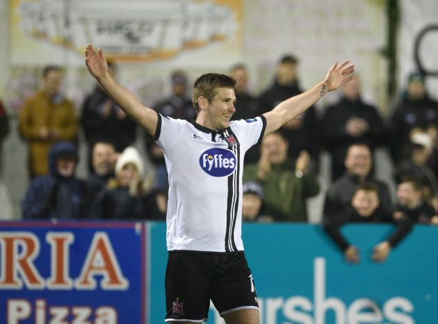 Patrick McEleney celebrates scoring his second goal