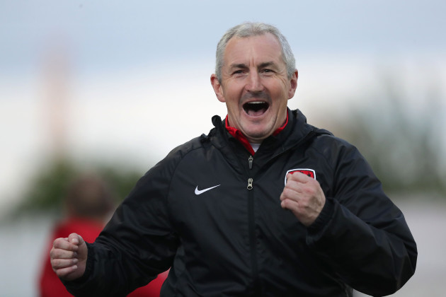 Cork City manager John Caulfield celebrates their third goal
