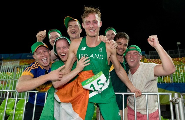 Ireland's Arthur Lanigan O'Keeffe celebrates his 8th placed finish with supporters