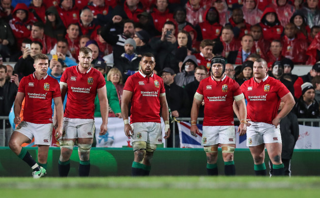 British and Irish Lions Owen Farrell George Kruis Taulope Falateau Sean O'Brien and Jack McGrath dejected