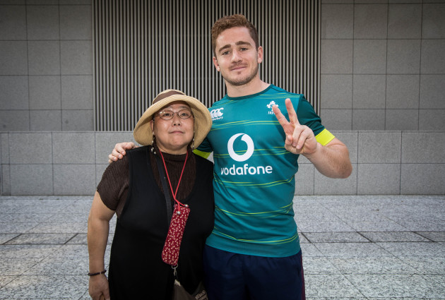 Paddy Jackson poses for a photo with a Japanese fan