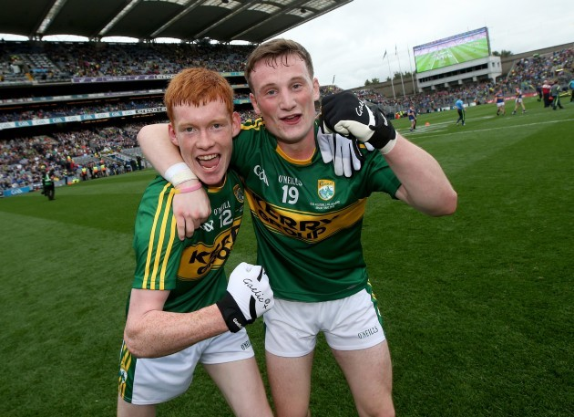 Brandon Barrett and Stephen O'Sullivan celebrate after the game