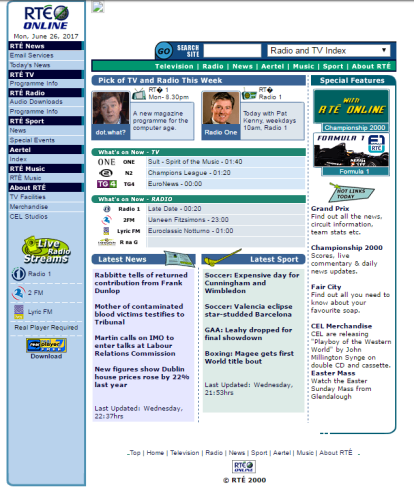Here's what Irish websites looked like back in the 90s · The