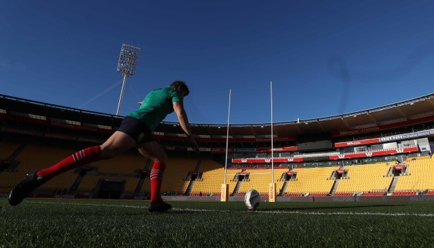 British and Irish Lions Leigh Halfpenny during the kicking practice