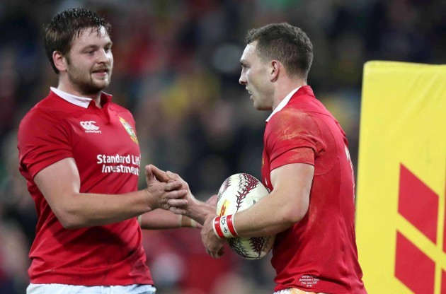 George North celebrates scoring their second try with Iain Henderson