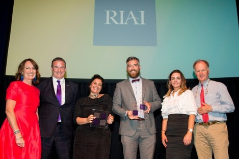At the RIAI awards where Clonakilty won Best Place of the Year 2017:- L-R:  RIAI president Carol Pollard , Paul Deere Dulux Paint Ireland Award?s sponsor, Giulia Vallone Cork County Council, Cllr Christopher O?Sullivan Deputising for the Mayor of Cork County, Clare Reidy Cork County Council and Sean McLoughlin Cork County Council. Photographer: Conor Healy