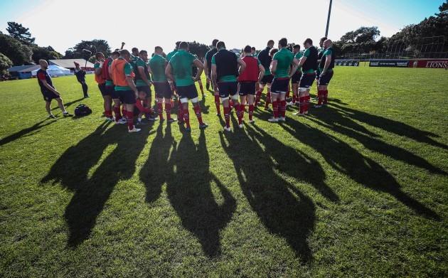 British and Irish Lions team huddle during the training