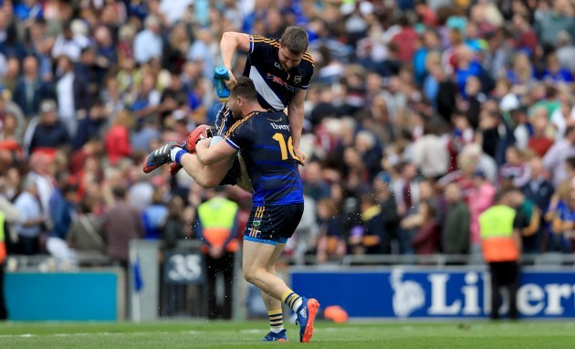 Darren Gleeson and Darragh Mooney celebrate at the final whistle