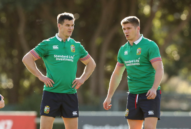 British and Irish Lions Jonathan Sexton and Owen Farrell during the training