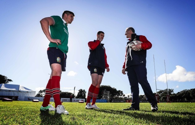 British and Irish Lions Owen Farrell Jonathan Sexton and Rob Howley during the training