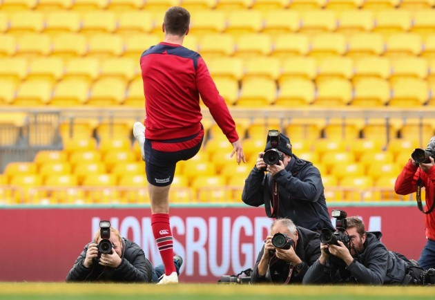 British and Irish Lions Jonathan Sexton with photographers  during the kicking practice