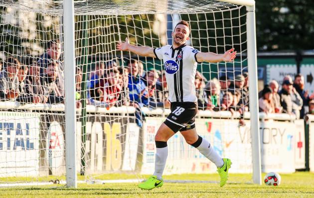 Robbie Benson celebrates scoring his second goal