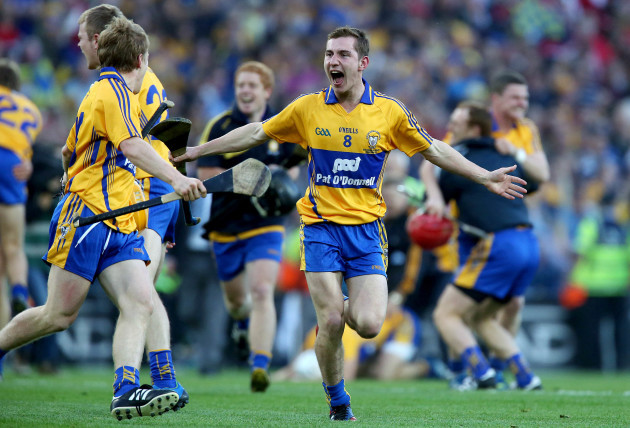 Colm Galvin celebrates at the final whistle
