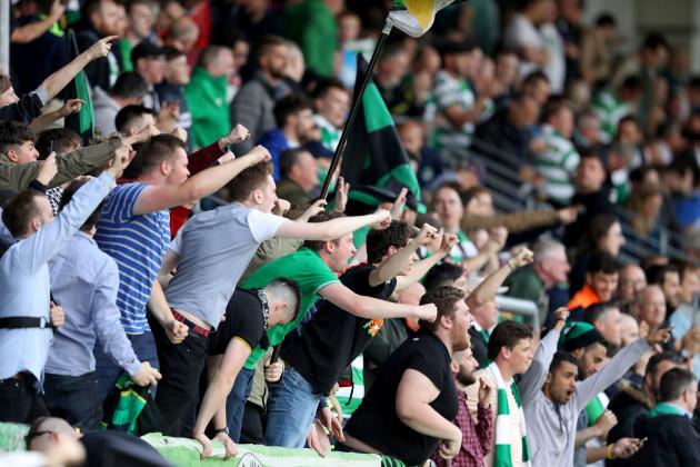 Shamrock Rovers' fans celebrate Graham Burke's goal
