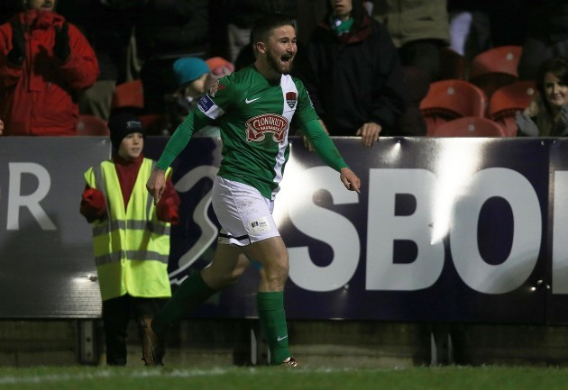 Sean Maguire celebrates scoring his second goal of the game
