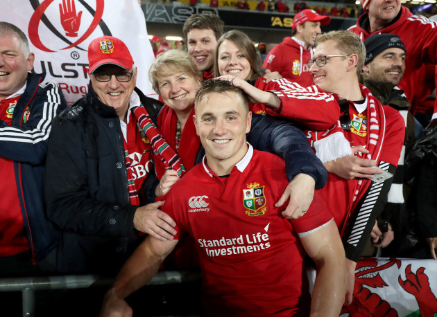 Jonathan Davies with his family after the game