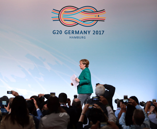 GERMANY-HAMBURG-G20 SUMMIT-MERKEL-PRESS CONFERENCE
